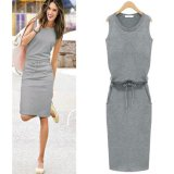 Low Price Oj Round Collar Sleeveless Pencil Skirt S*xy Dress Intl