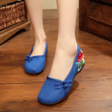 Price Comparisons For Old Beijing Cloth Shoes Women Linen Embroidered Shoes Summer Shallow Mouth Women S Singles Shoes Casual Slope With National Wind Dress Shoes Blue