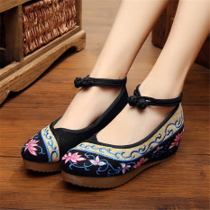 Price Comparisons Of Old Beijing Elevator Dance Chinese Clothing Wedding Shoes Female Cloth Shoes Interlocking Lotus Black