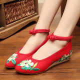 Sale Old Beijing Pointed Increased Dance Shoes Women Shoes Red Green Flower Oem Online