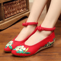 Low Cost Old Beijing Pointed Increased Dance Shoes Women Shoes Red Green Flower