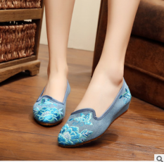 Review Old Beijing Gum Outsole Elevator Bride Embroidered Shoes Cloth Shoes Light Blue Other On China
