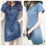 Where Can I Buy On Sale Woman Denim Dresses Causal Short Sleeve Slim Jeanswear Fashionable V Neck A Line Jeans Dress Summer S 5Xl Intl