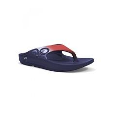 OOFOS Unisex Ooriginal Sport Thong Flip Flop,Red, White/Blue,15 B