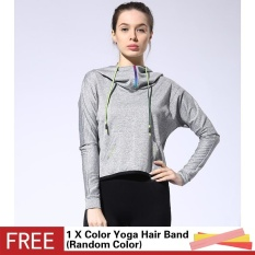 Buy Outdoor Running Sports Loose Half Zipper With Pocket Hooded Jacket Women Yoga Fitness Long Sleeve Outwear Tops Intl China