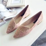 Price Comparisons For Outlet Butterflies Embroidered Pointed Flat Shoes(Pink) Intl