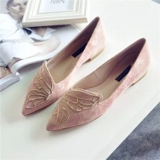Review Outlet Butterflies Embroidered Pointed Flat Shoes(Pink) Intl Oem On China