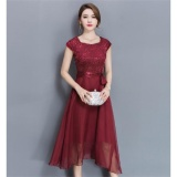 Lowest Price Outlet Large Size Dress Midi Evening Dress Burgund Intl