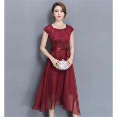 How To Get Outlet Large Size Dress Midi Evening Dress Burgund Intl