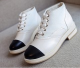 Review Outlet Leather Stitching Platform Shoes White China