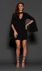 Top Rated European Grand Prix Nightclub Autumn V Neck Bell Sleeve Dress