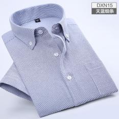 Oxford Spinning Men S Short Sleeve Shirt Dxn15 Sky Blue Thin Strips Deal