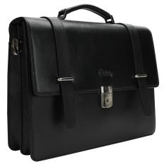 For Sale Oxhide Black Pebble Leather Office Bag Wall Street