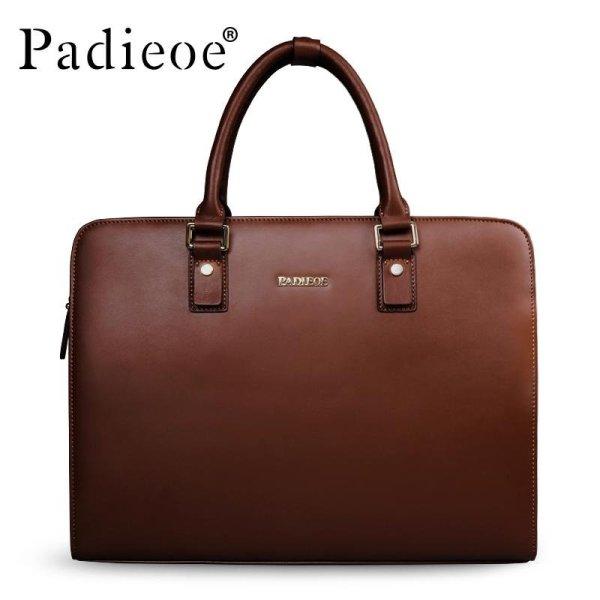 Padieoe Mens Bag Business Men Briefcase Split Cow Leather High Capacity Laptop Bag Male Youth Bag Tote Handbags 15.1inch Brown - intl