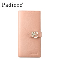 List Price Padieoe Women Wallet Genuine Leather Handbag Card Holder Wallet Coin Purse Metal Hasp Female Long Wallet Pink 7 2Inch Intl Padieoe
