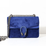 Small Square Corduroy Spring Summer New Style Brushed Leather Shoulder Bag Women S Bag Sapphire Blue Lower Price