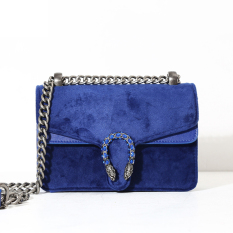 Cheap Small Square Corduroy Spring Summer New Style Brushed Leather Shoulder Bag Women S Bag Sapphire Blue