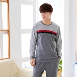 New Pajamas Long Sleeves Cotton Spring And Autumn Men S Pajamas Thin Home Clothing Suit Intl