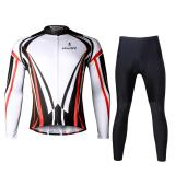 Paladin Men Summer Cycling Jersey And Pants Set Long Sleeve Quick Dry White Black Red Stripe Coupon Code