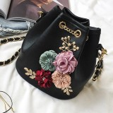 Get Cheap Palight Fashion Women Bucket Shoulder Bags Chain Drawstring Flower Pu Leather Intl