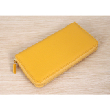 Review Paper Air Genuine Cow Leather Women S Zip Around Wallet Yellow Intl South Korea