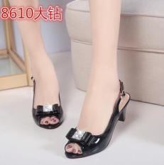 Price Korean Style Crystal Female Summer Sandals Stiletto Heels Black Big Diamond Other China