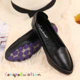 Beans Black Female New Style Round Head Work Shoes Pumps Black Flat Top Shoes Standard Code Number Online