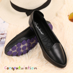 Price Compare Beans Black Female New Style Round Head Work Shoes Pumps Black Flat Top Shoes Standard Code Number