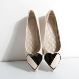 Peas Korean Style Pointed Flat Spring Small Women Shoes Side Scoop Bootie Beige Best Price