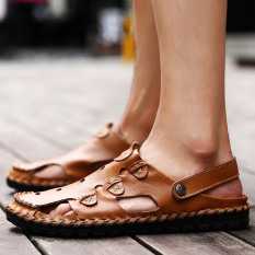Leather Men Punch Breathable Casual Shoes Baotou Sandals Reddish Brown Reddish Brown Free Shipping