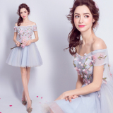 Top Rated Women S Flower And Crystal Blue Gray Short Bridesmaid Gown 5978