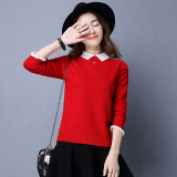 Women S Loose Hedging Longsleeve Short Sweater Red Red Shopping