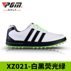 For Sale Pgm Casual Athletic Shoes Sneakers White And Black Flourescent Green Three Bars Black