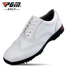 Discount Pgm Man Full Grain Cow Leather Spike Golf Shoes Color White Intl Pgm China