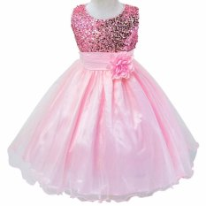 Pink 2 Y New Born Baby Girls Cute Princess Party Causal Dress Summer Sleeveless Sequins Leisure One Piece Dress With Bowkont L001 Intl On Line