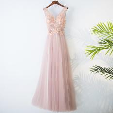 Elegant Korean New Slim Fit Sheath Bridesmaid Dress Pink Evening Gown Oem Discount