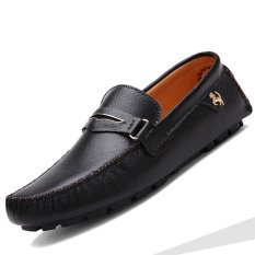 Who Sells The Cheapest Pinsv Genuine Leather Men S Flats Shoes Casual Loafers Slip On Black Online