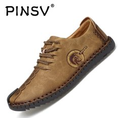 Sale Pinsv Nubuck Leather Shoes Men Round Toe Leather Lace Fashion Shoes Low Cut Shoes Khaki Intl China Cheap