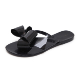 Plastic Girls Flat Sandals Slippers Jelly Shoes Black Black Butterfly Knot Promo Code