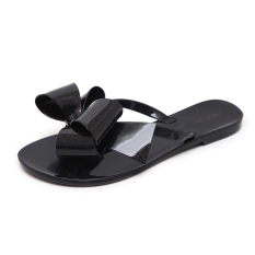 Discounted Plastic Girls Flat Sandals Slippers Jelly Shoes Black Black Butterfly Knot