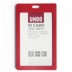 Plastic ID Card Holder Card Case Cover Neck Strap Lanyard Badge For Name Tag Red