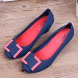 Mengfeiman Women S Sloped Heel Closed Top Jelly Shoes Dark Blue Color Dark Blue Color Review