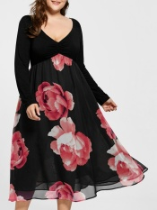 Sale Plus Size Floral Print Empire Waist Midi Dress Red Intl Not Specified On China
