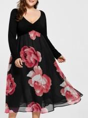 Low Price Plus Size Floral Print Empire Waist Midi Dress Red Intl