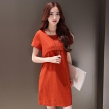 Plus Size Loose Women Summer Cotton Linen Dress Short Sleeve Pregnant Ladies Dresses Intl China