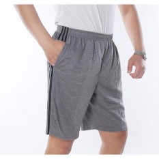 Plus Size Men S Shorts Elastic Waist Casual Cotton Pocket Short For Men Grey Xl 2Xl 3Xl 4Xl 5Xl Intl Price