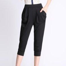 Buy Cheap Plus Size New Summer Women Fashion Loose High Waist Black Calf Length Harem Pants Intl