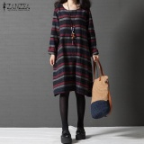 Discount Plus Size S 5Xl Zanzea Latest Fashion Women Round Neck Long Sleeve Casual Loose Retro Striped Splice Long Shirt Dress Red Intl