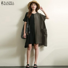 e59088ff87cfb Plus Size S-5XL ZANZEA Women Cotton Linen Vestido Short Sleeve Color Block  Summer O Neck Casual Loose Irregular Mini Dress (Green) - intl