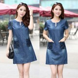 For Sale Plus Size S 3Xl New Summer Denim Dress Hot Sale Women Loose Fashion Jeans Lady Slim Short Sleeve Dress Intl